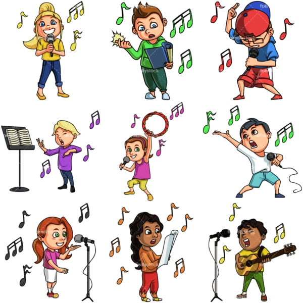 Kids singing. PNG - JPG and vector EPS file formats (infinitely scalable). Image isolated on transparent background.