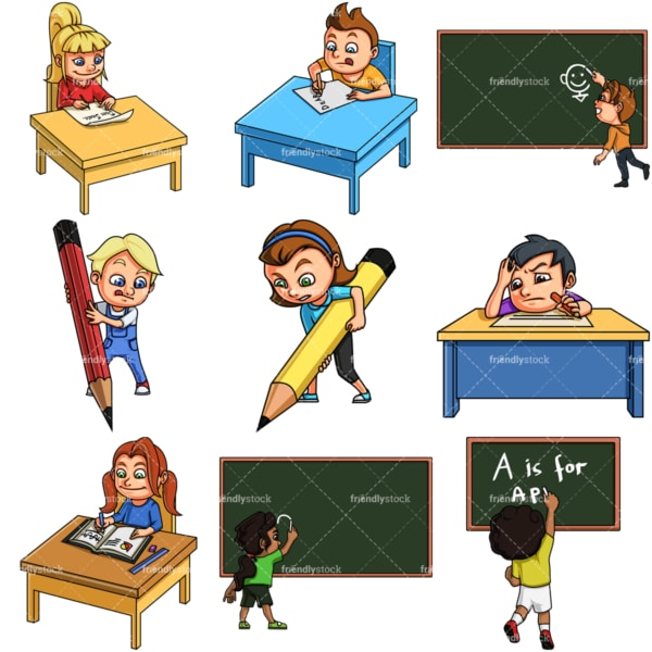 Kids writing. PNG - JPG and vector EPS file formats (infinitely scalable). Image isolated on transparent background.