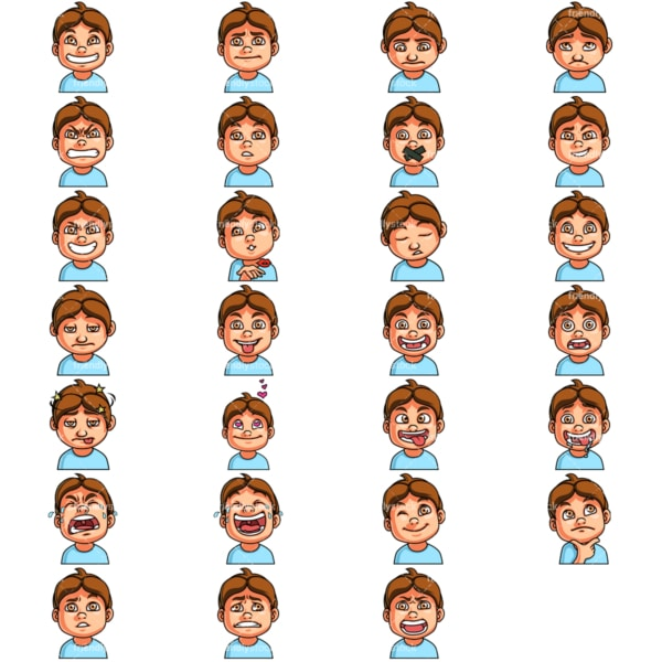 Little boy emoji faces. PNG - JPG and vector EPS file formats (infinitely scalable). Image isolated on transparent background.