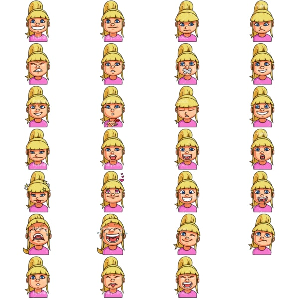 Little girl emoji faces. PNG - JPG and vector EPS file formats (infinitely scalable). Image isolated on transparent background.