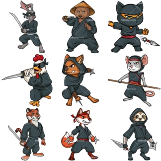 Ninja animals. PNG - JPG and vector EPS file formats (infinitely scalable).