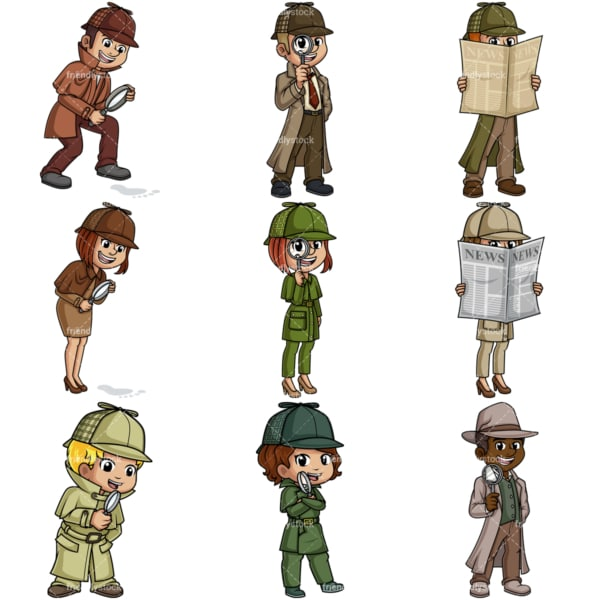 Private detectives. PNG - JPG and vector EPS file formats (infinitely scalable).