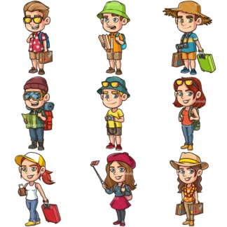 Travelers and tourists. PNG - JPG and infinitely scalable vector EPS - on white or transparent background.