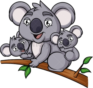 Koala family. PNG - JPG and vector EPS (infinitely scalable). Image isolated on transparent background.