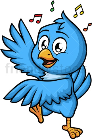 Blue bird dancing. PNG - JPG and vector EPS (infinitely scalable). Image isolated on transparent background.