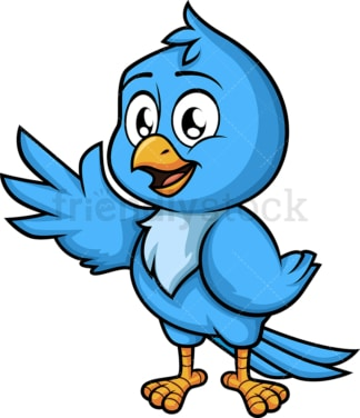 Blue bird waving. PNG - JPG and vector EPS (infinitely scalable). Image isolated on transparent background.