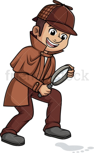 Caucasian male detective. PNG - JPG and vector EPS (infinitely scalable).
