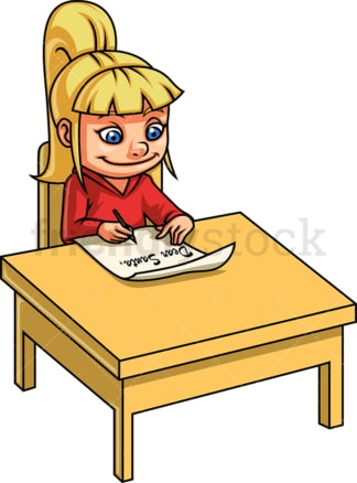 Girl writing letter to santa claus. PNG - JPG and vector EPS. Isolated on transparent background.