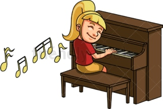 Kid girl playing piano. PNG - JPG and vector EPS. Isolated on transparent background.