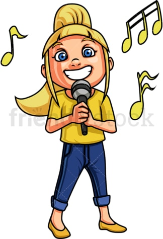 Little girl singing. PNG - JPG and vector EPS. Isolated on transparent background.