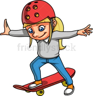 Little girl skateboarder. PNG - JPG and vector EPS. Isolated on transparent background.