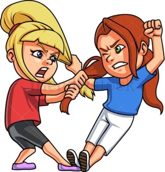 Little girls fighting. PNG - JPG and vector EPS (infinitely scalable).