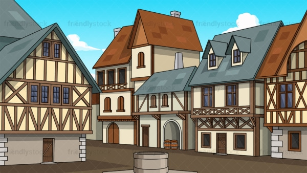 Medieval village background in 16:9 aspect ratio. PNG - JPG and vector EPS file formats (infinitely scalable).