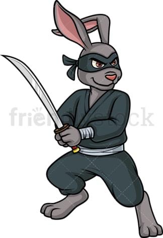 Ninja bunny rabbit. PNG - JPG and vector EPS (infinitely scalable).