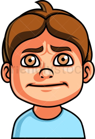 Little boy nervous face. PNG - JPG and vector EPS file formats (infinitely scalable). Image isolated on transparent background.