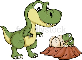 Dinosaur mother near its nest. PNG - JPG and vector EPS file formats (infinitely scalable). Image isolated on transparent background.