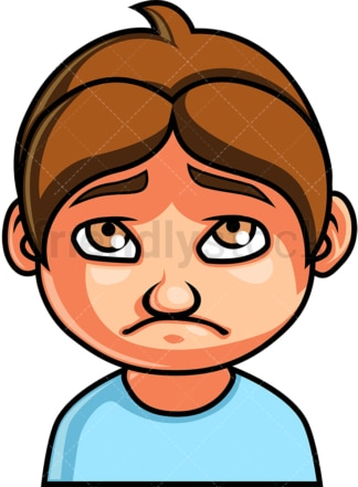 Little boy sad face. PNG - JPG and vector EPS file formats (infinitely scalable). Image isolated on transparent background.
