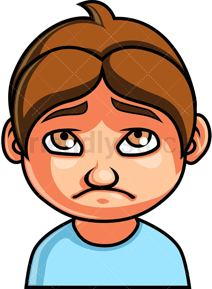 Little Boy Sad Face Cartoon Vector Clipart - FriendlyStock