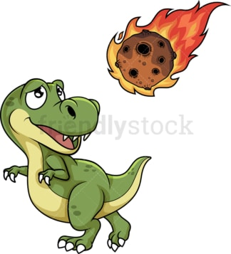 Dinosaur running from meteor. PNG - JPG and vector EPS file formats (infinitely scalable). Image isolated on transparent background.