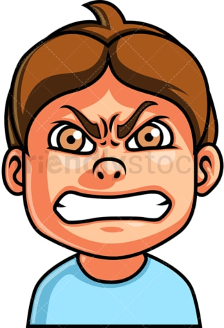 Little boy angry face. PNG - JPG and vector EPS file formats (infinitely scalable). Image isolated on transparent background.