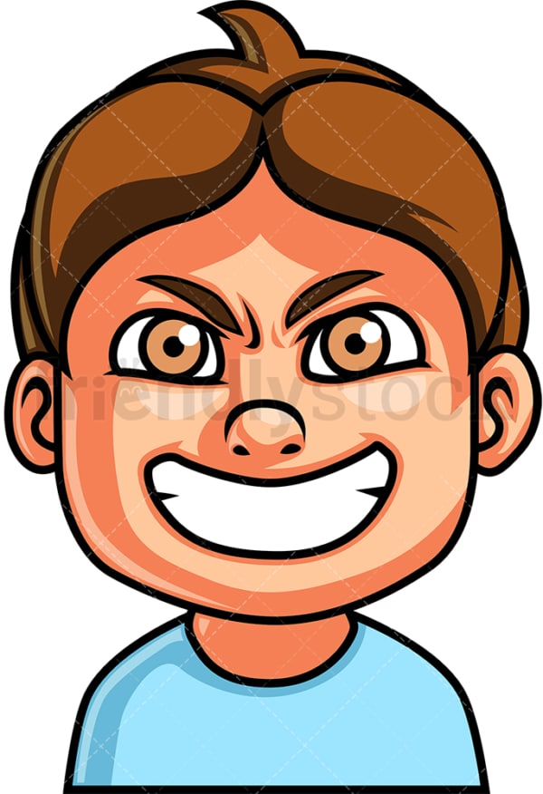 Little boy evil face. PNG - JPG and vector EPS file formats (infinitely scalable). Image isolated on transparent background.