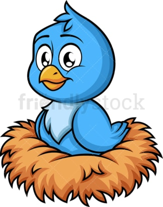 Blue bird in nest. PNG - JPG and vector EPS (infinitely scalable). Image isolated on transparent background.