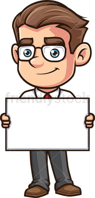 Employee holding blank sign. PNG - JPG and vector EPS (infinitely scalable).