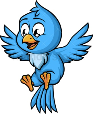 Flying blue bird. PNG - JPG and vector EPS (infinitely scalable). Image isolated on transparent background.