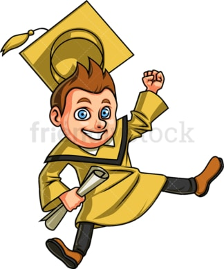 Happy male graduate. PNG - JPG and vector EPS. Isolated on transparent background.