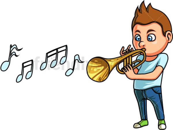 Little boy playing trumpet. PNG - JPG and vector EPS. Isolated on transparent background.