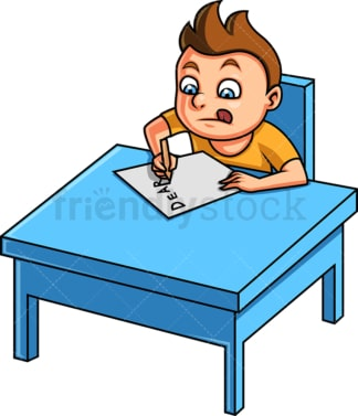 Little boy writing a letter. PNG - JPG and vector EPS. Isolated on transparent background.