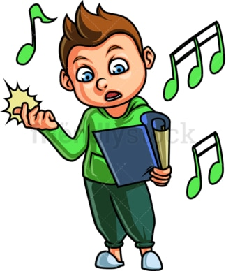 Little boy singing. PNG - JPG and vector EPS. Isolated on transparent background.