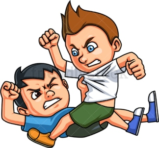 Little boys fighting. PNG - JPG and vector EPS (infinitely scalable).