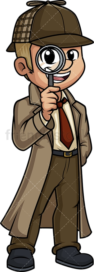 Man detective with magnifying glass. PNG - JPG and vector EPS (infinitely scalable).