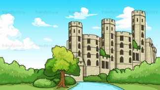 Medieval fort background in 16:9 aspect ratio. PNG - JPG and vector EPS file formats (infinitely scalable).