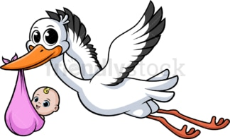 Stork carrying baby girl. PNG - JPG and vector EPS file formats (infinitely scalable). Image isolated on transparent background.