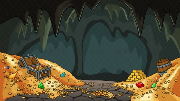 Treasure cave background in 16:9 aspect ratio. PNG - JPG and vector EPS file formats (infinitely scalable).