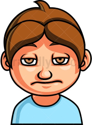 Little boy bored face. PNG - JPG and vector EPS file formats (infinitely scalable). Image isolated on transparent background.
