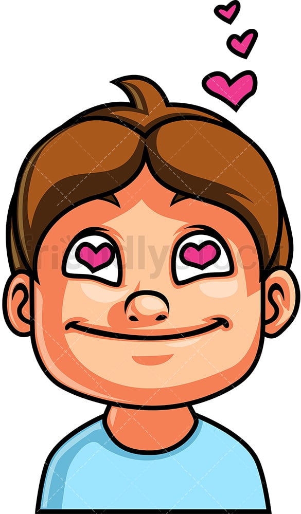 Little boy in love face. PNG - JPG and vector EPS file formats (infinitely scalable). Image isolated on transparent background.