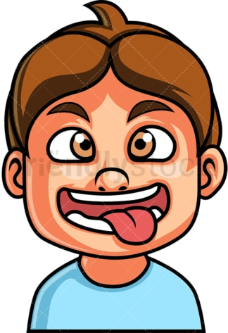 Little boy crazy face. PNG - JPG and vector EPS file formats (infinitely scalable). Image isolated on transparent background.