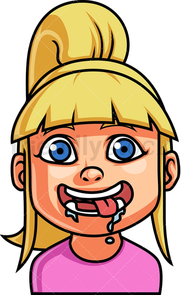Little girl hungry face. PNG - JPG and vector EPS file formats (infinitely scalable). Image isolated on transparent background.
