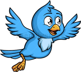 Blue bird flying away. PNG - JPG and vector EPS (infinitely scalable). Image isolated on transparent background.