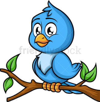 Blue bird on tree branch. PNG - JPG and vector EPS (infinitely scalable). Image isolated on transparent background.