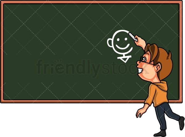 Kid drawing on chalkboard. PNG - JPG and vector EPS. Isolated on transparent background.