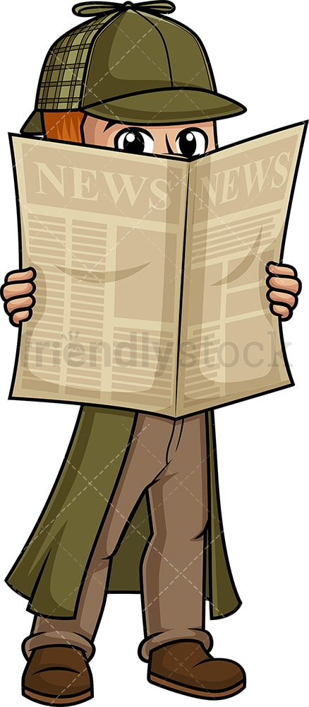 Detective hiding behind newspaper. PNG - JPG and vector EPS (infinitely scalable).