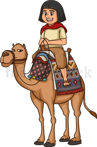 Egyptian man riding a camel. PNG - JPG and vector EPS (infinitely scalable).