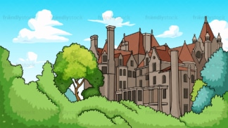 European castle background in 16:9 aspect ratio. PNG - JPG and vector EPS file formats (infinitely scalable).