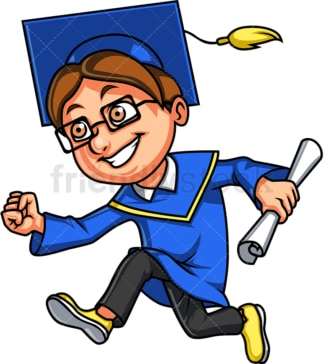 Boy holding diploma and running after graduation. PNG - JPG and vector EPS. Isolated on transparent background.