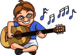 Little boy playing guitar. PNG - JPG and vector EPS. Isolated on transparent background.