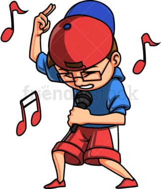 Kid singing a rap song. PNG - JPG and vector EPS. Isolated on transparent background.
